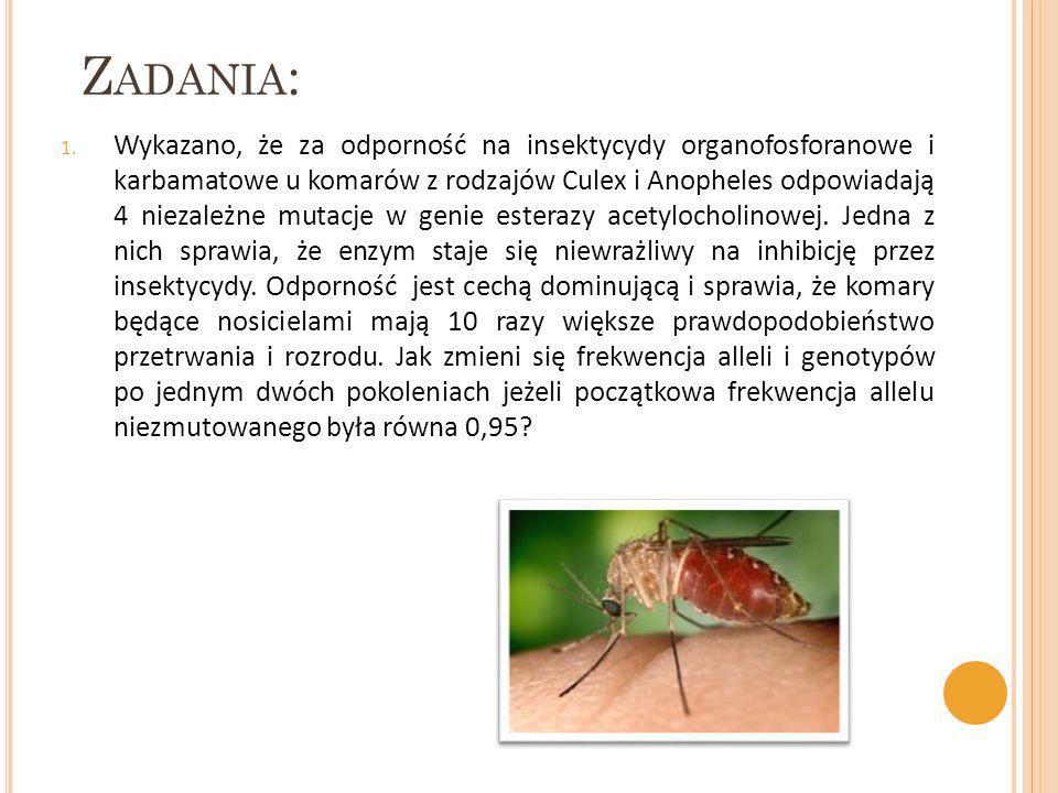 Z ADANIA : 1. Wykazano, że za odporność na insektycydy organofosforanowe i karbamatowe u komarów z rodzajów Culex i Anopheles odpowiadają 4 niezależne