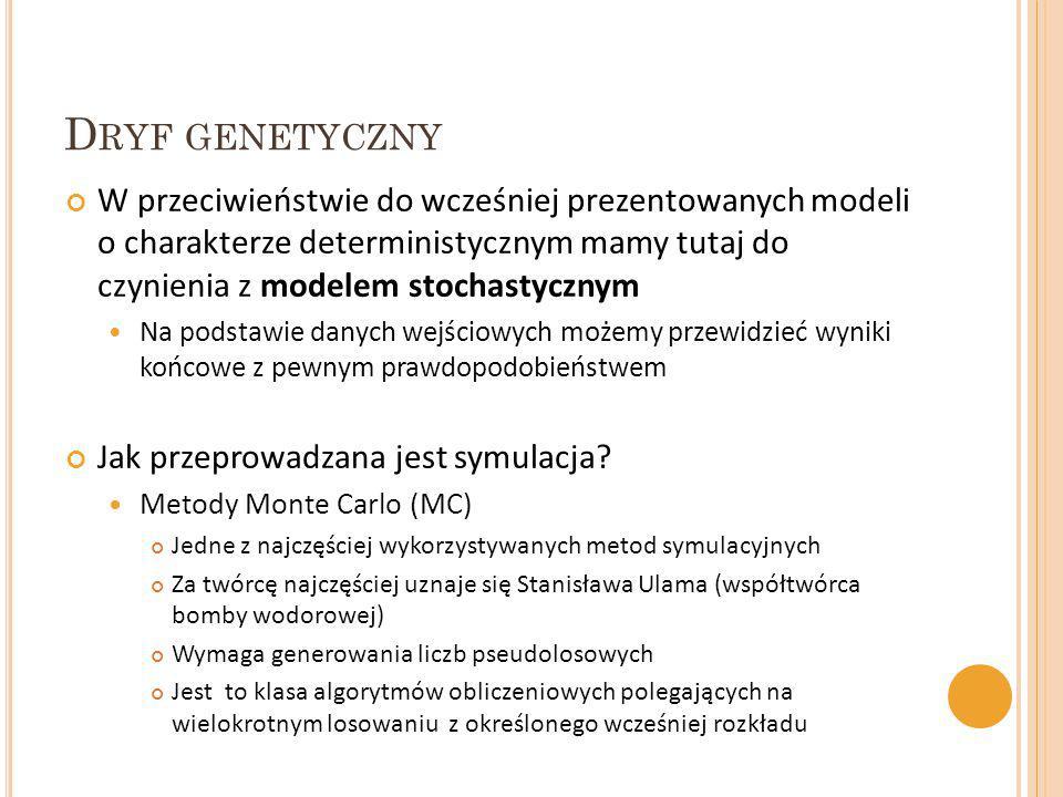 D RYF GENETYCZNY W przeciwieństwie do wcześniej prezentowanych modeli o charakterze deterministycznym mamy tutaj do czynienia z modelem stochastycznym