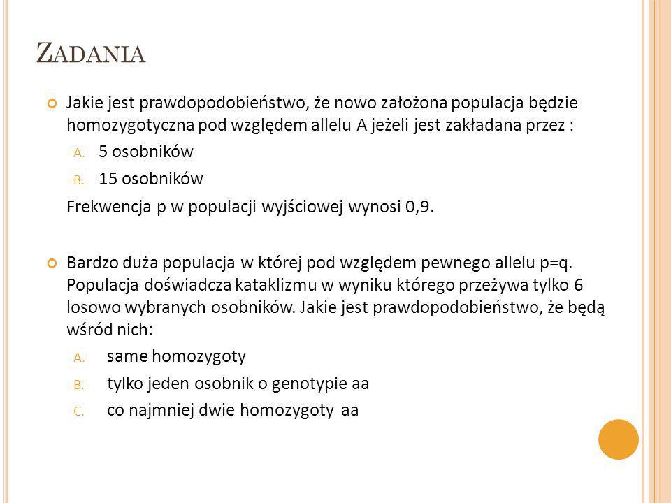 Z ADANIA Jakie jest prawdopodobieństwo, że nowo założona populacja będzie homozygotyczna pod względem allelu A jeżeli jest zakładana przez : A. 5 osob