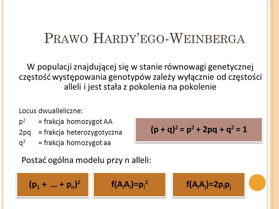 P RAWO H ARDY ' EGO -W EINBERGA W populacji znajdującej się w stanie równowagi genetycznej częstość występowania genotypów zależy wyłącznie od częstoś