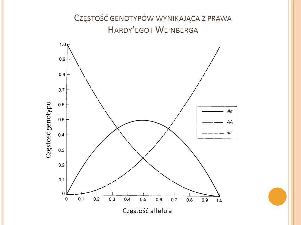 C ZĘSTOŚĆ GENOTYPÓW WYNIKAJĄCA Z PRAWA H ARDY ' EGO I W EINBERGA Częstość allelu a Częstość genotypu