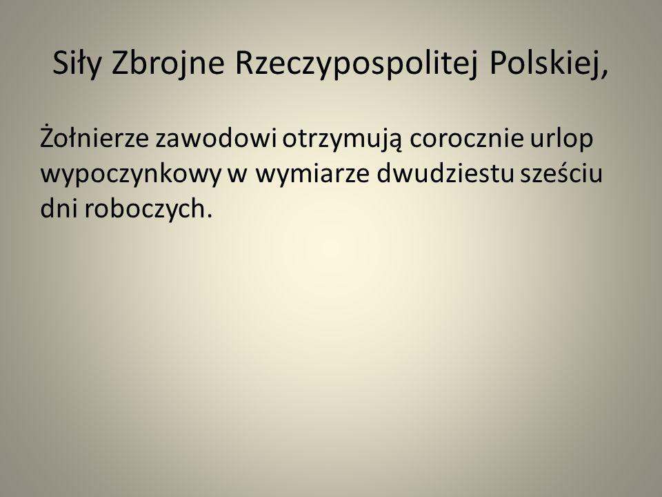Siły Zbrojne Rzeczypospolitej Polskiej, Żołnierze zawodowi otrzymują corocznie urlop wypoczynkowy w wymiarze dwudziestu sześciu dni roboczych.