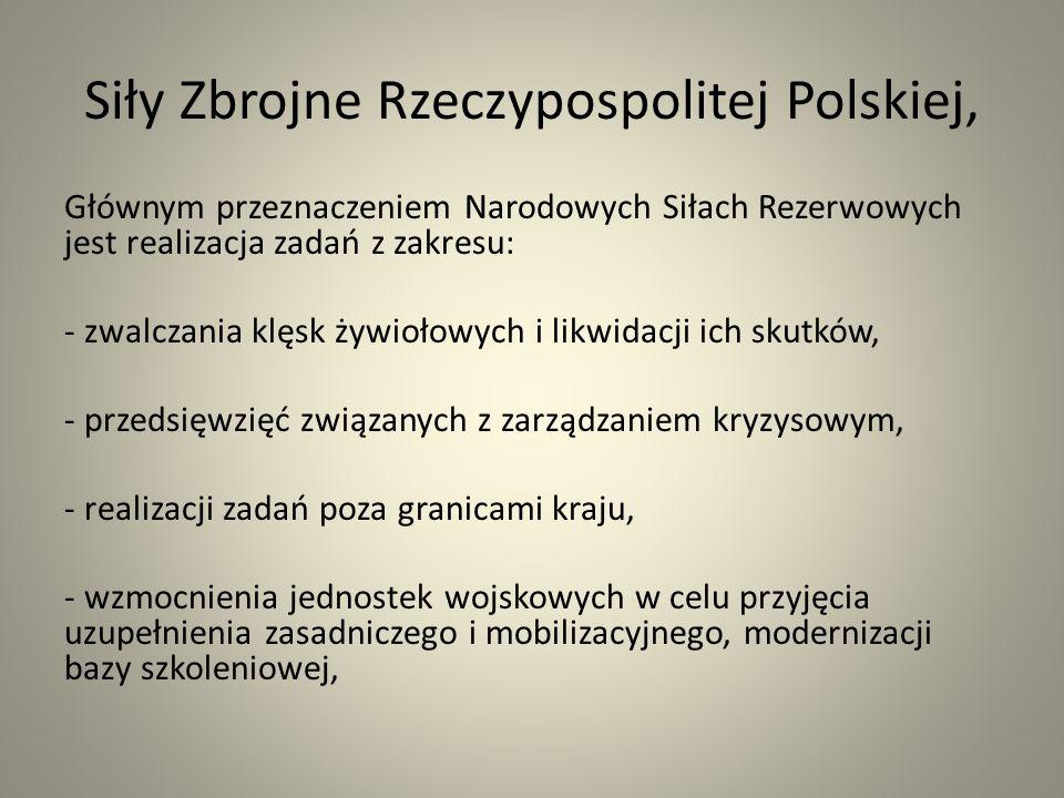 Siły Zbrojne Rzeczypospolitej Polskiej, Głównym przeznaczeniem Narodowych Siłach Rezerwowych jest realizacja zadań z zakresu: - zwalczania klęsk żywiołowych i likwidacji ich skutków, - przedsięwzięć związanych z zarządzaniem kryzysowym, - realizacji zadań poza granicami kraju, - wzmocnienia jednostek wojskowych w celu przyjęcia uzupełnienia zasadniczego i mobilizacyjnego, modernizacji bazy szkoleniowej,
