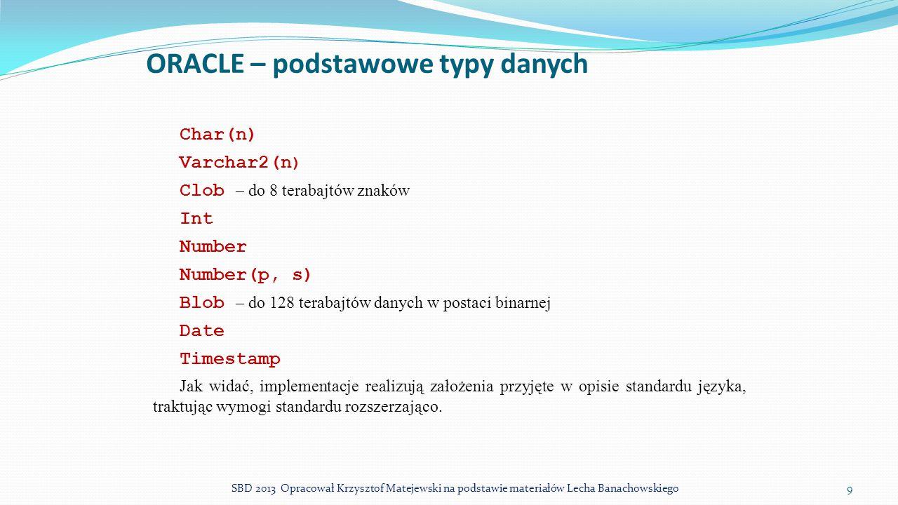 ORACLE – podstawowe typy danych Char(n) Varchar2(n ) Clob – do 8 terabajtów znaków Int Number Number(p, s) Blob – do 128 terabajtów danych w postaci b