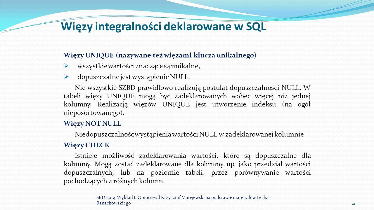 Więzy integralności deklarowane w SQL Więzy UNIQUE (nazywane też więzami klucza unikalnego)  wszystkie wartości znaczące są unikalne,  dopuszczalne