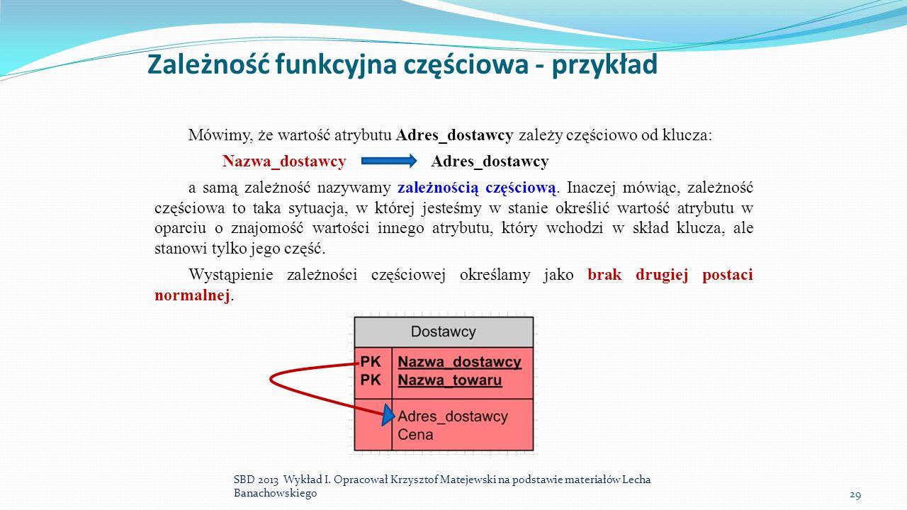 Zależność funkcyjna częściowa - przykład Mówimy, że wartość atrybutu Adres_dostawcy zależy częściowo od klucza: Nazwa_dostawcy Adres_dostawcy a samą z
