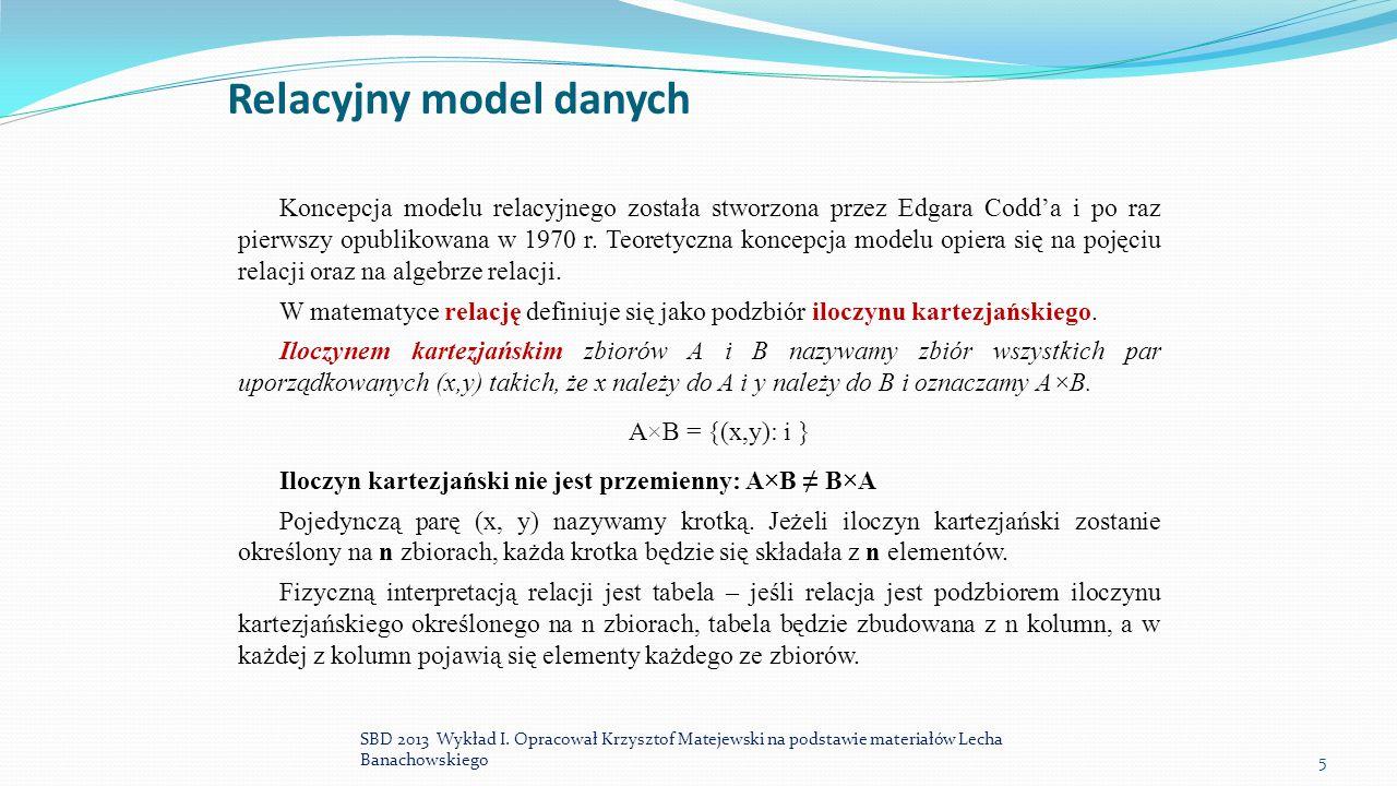 Relacyjny model danych Koncepcja modelu relacyjnego została stworzona przez Edgara Codd'a i po raz pierwszy opublikowana w 1970 r. Teoretyczna koncepc