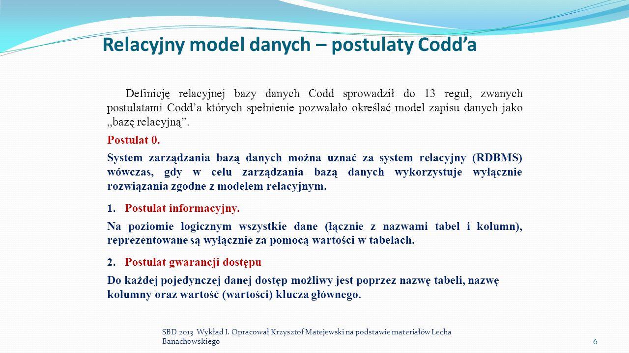 Relacyjny model danych – postulaty Codd'a Definicję relacyjnej bazy danych Codd sprowadził do 13 reguł, zwanych postulatami Codd'a których spełnienie