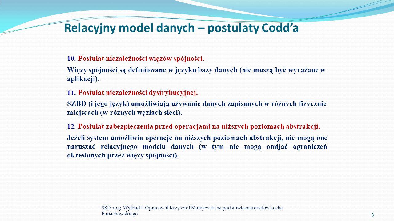 Relacyjny model danych – postulaty Codd'a 10. Postulat niezależności więzów spójności. Więzy spójności są definiowane w języku bazy danych (nie muszą