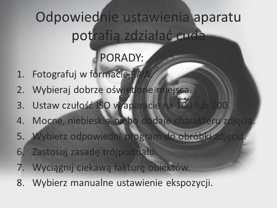 Odpowiednie ustawienia aparatu potrafią zdziałać cuda PORADY: 1.Fotografuj w formacie RAW.