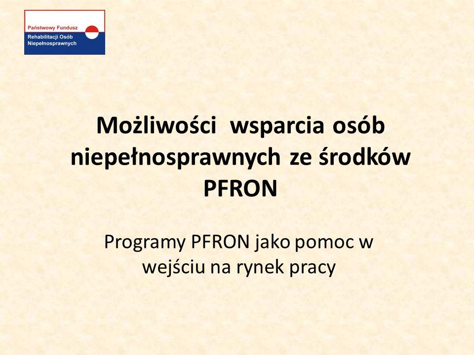 Możliwości wsparcia osób niepełnosprawnych ze środków PFRON Program Junior - realizatorzy: -Powiatowe Urzędy Pracy we współpracy z Oddziałami wojewódzkimi PFRON.