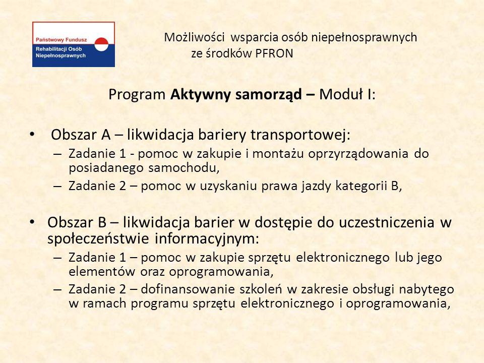 Możliwości wsparcia osób niepełnosprawnych ze środków PFRON Program Aktywny samorząd – Moduł I: Obszar A – likwidacja bariery transportowej: – Zadanie