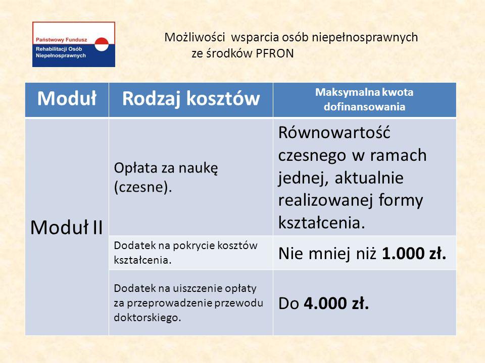 Możliwości wsparcia osób niepełnosprawnych ze środków PFRON ModułRodzaj kosztów Maksymalna kwota dofinansowania Moduł II Opłata za naukę (czesne). Rów
