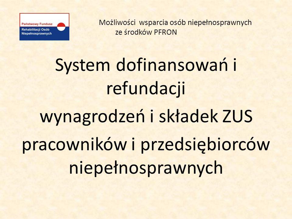 Możliwości wsparcia osób niepełnosprawnych ze środków PFRON System dofinansowań i refundacji wynagrodzeń i składek ZUS pracowników i przedsiębiorców n