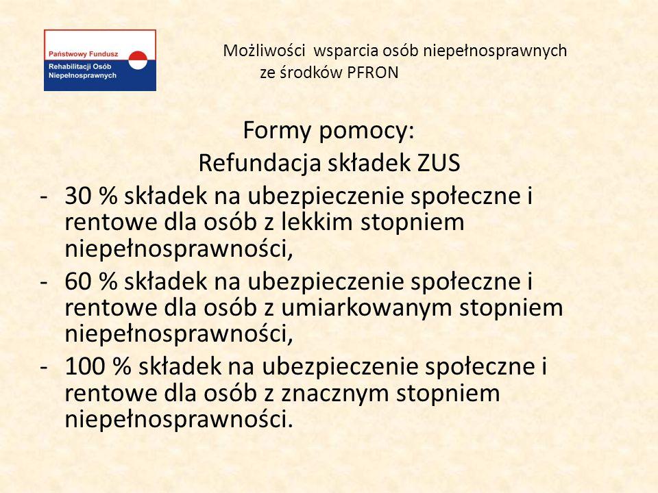 Możliwości wsparcia osób niepełnosprawnych ze środków PFRON Formy pomocy: Refundacja składek ZUS -30 % składek na ubezpieczenie społeczne i rentowe dl