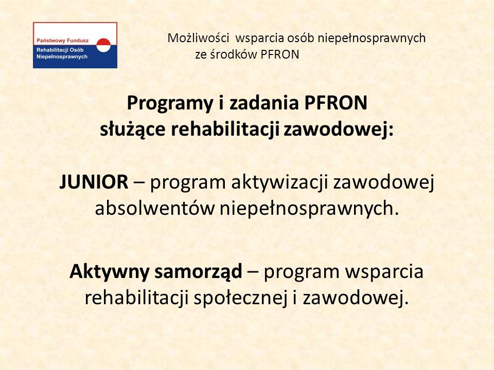 Możliwości wsparcia osób niepełnosprawnych ze środków PFRON Programy i zadania PFRON służące rehabilitacji zawodowej c.d.: System dofinansowań i refundacji wynagrodzeń i składek ZUS pracowników i przedsiębiorców niepełnosprawnych.