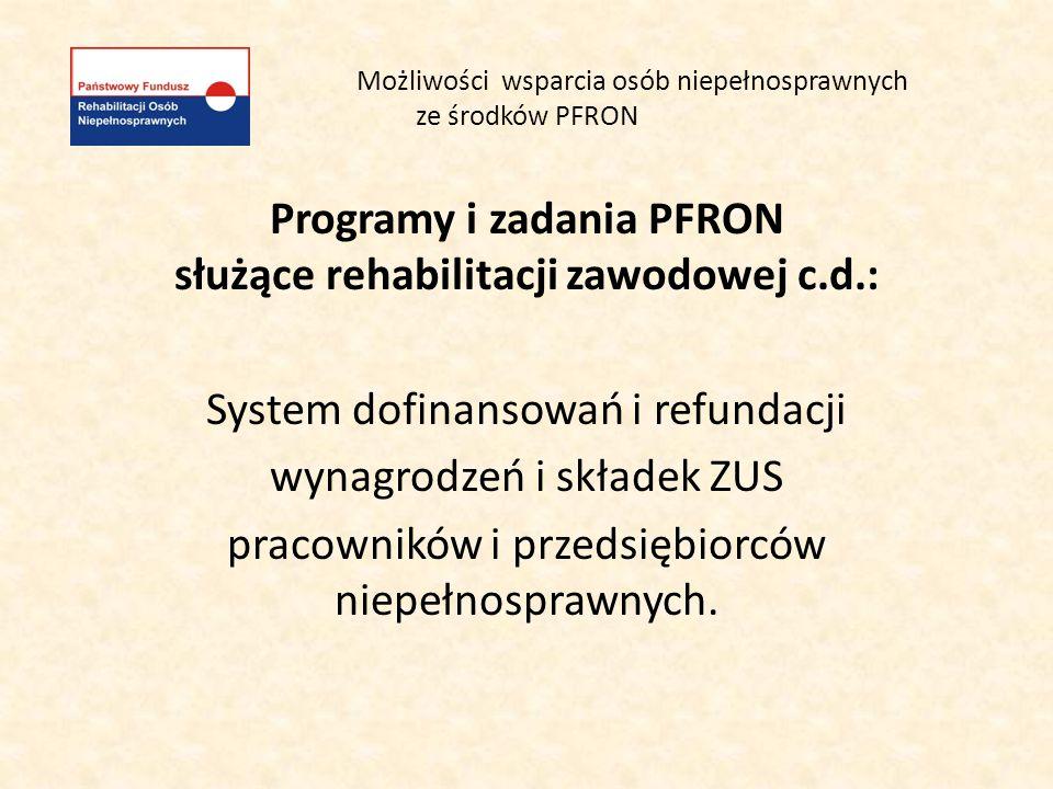 Możliwości wsparcia osób niepełnosprawnych ze środków PFRON Programy i zadania PFRON służące rehabilitacji zawodowej c.d.: System dofinansowań i refun
