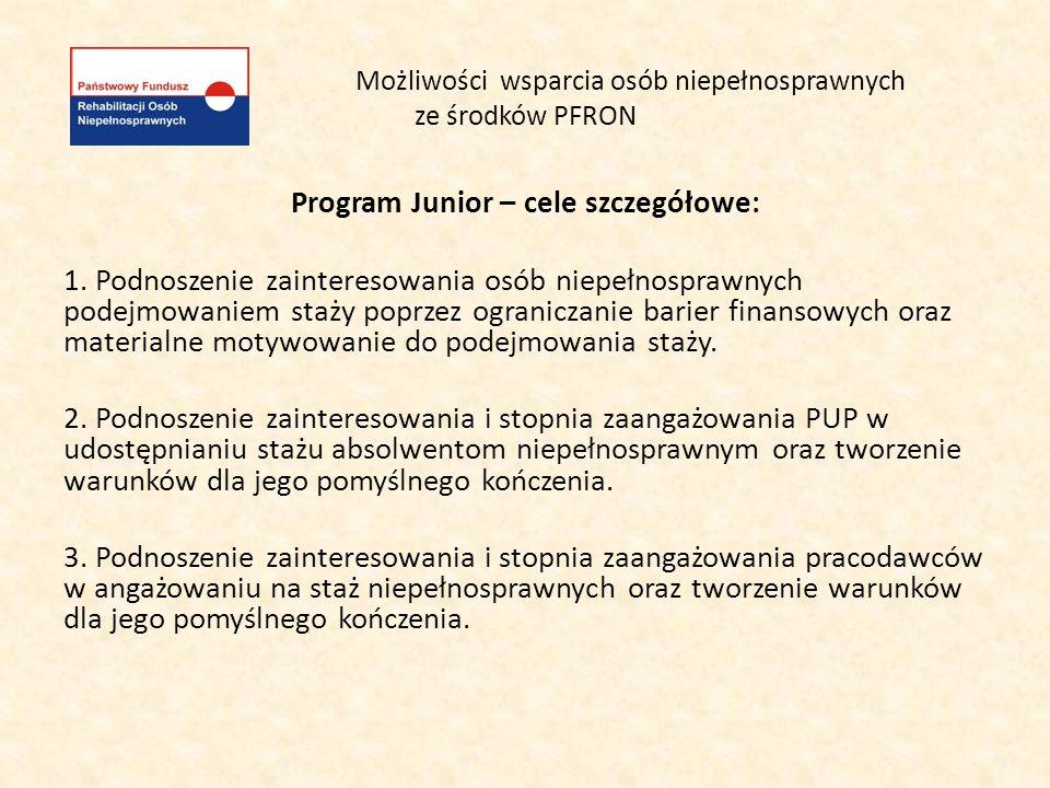 Możliwości wsparcia osób niepełnosprawnych ze środków PFRON Program Junior - adresaci pomocy: Adresatami programu są osoby z orzeczonym znacznym, umiarkowanym lub lekkim stopniem niepełnosprawności w wieku do 30 roku życia, skierowane na staż zgodnie z warunkami określonymi w ustawie z dnia 20 kwietnia 2004 r.