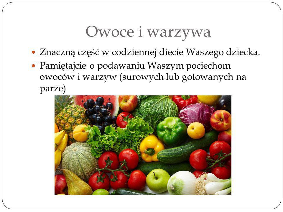 Owoce i warzywa Znaczną część w codziennej diecie Waszego dziecka.