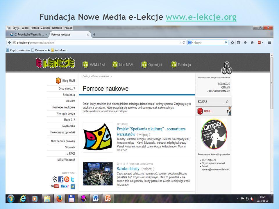 Fundacja Nowe Media e-Lekcje www.e-lekcje.orgwww.e-lekcje.org