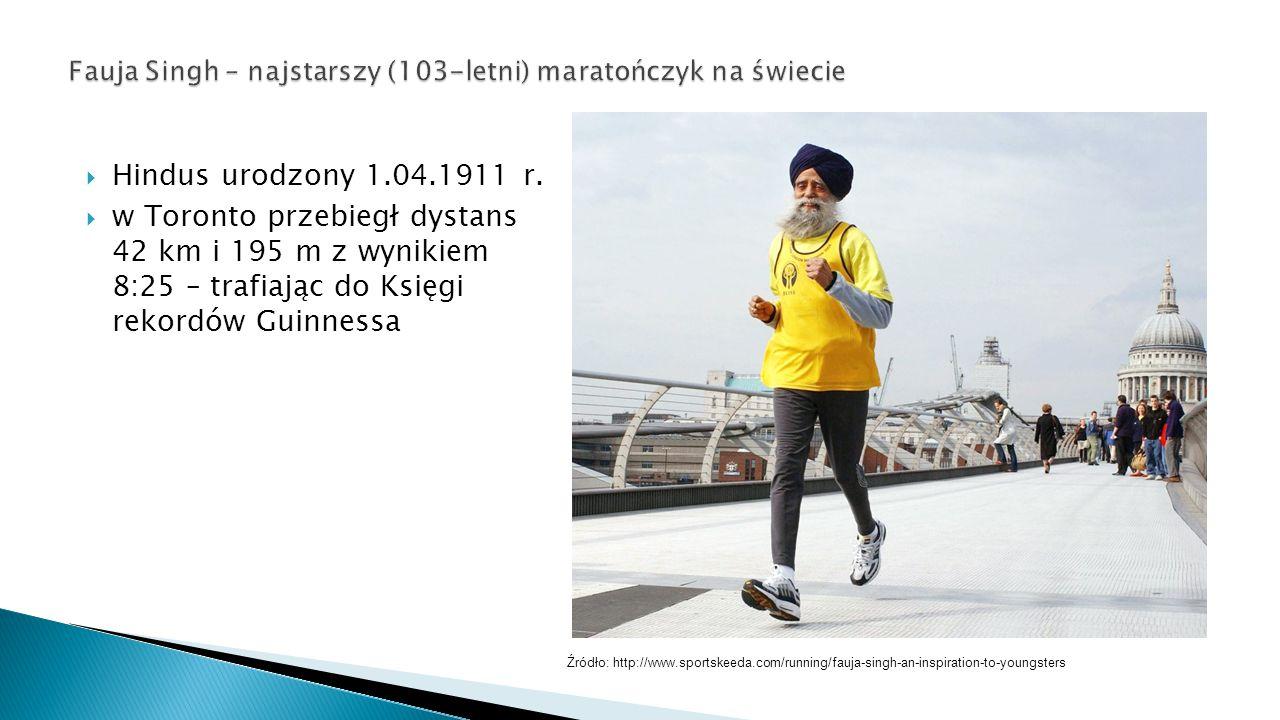  Hindus urodzony 1.04.1911 r.  w Toronto przebiegł dystans 42 km i 195 m z wynikiem 8:25 – trafiając do Księgi rekordów Guinnessa Źródło: http://www