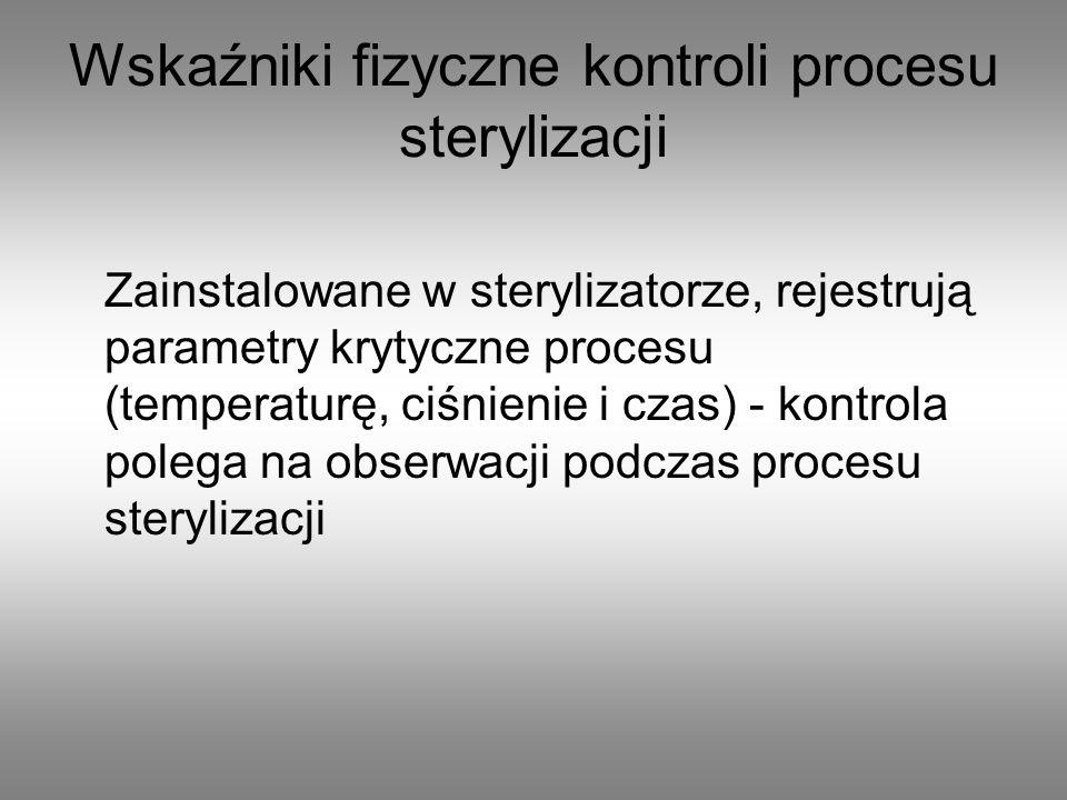 Wskaźniki fizyczne kontroli procesu sterylizacji Zainstalowane w sterylizatorze, rejestrują parametry krytyczne procesu (temperaturę, ciśnienie i czas