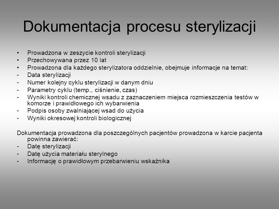 Dokumentacja procesu sterylizacji Prowadzona w zeszycie kontroli sterylizacji Przechowywana przez 10 lat Prowadzona dla każdego sterylizatora oddzieln