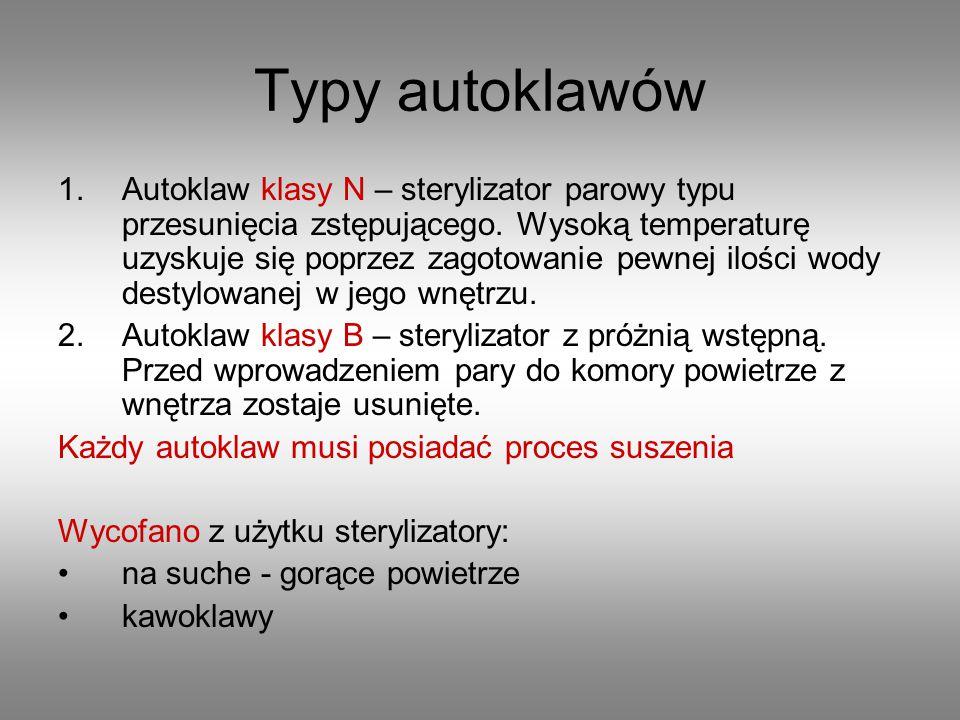 Typy autoklawów 1.Autoklaw klasy N – sterylizator parowy typu przesunięcia zstępującego. Wysoką temperaturę uzyskuje się poprzez zagotowanie pewnej il