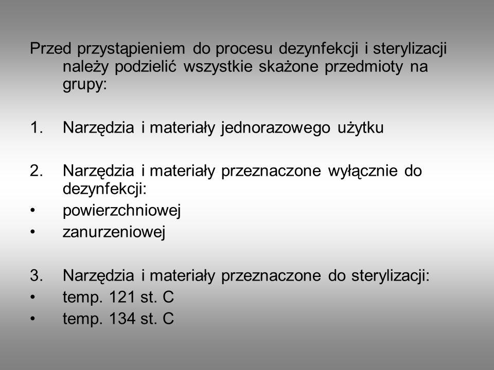 Przed przystąpieniem do procesu dezynfekcji i sterylizacji należy podzielić wszystkie skażone przedmioty na grupy: 1.Narzędzia i materiały jednorazowe