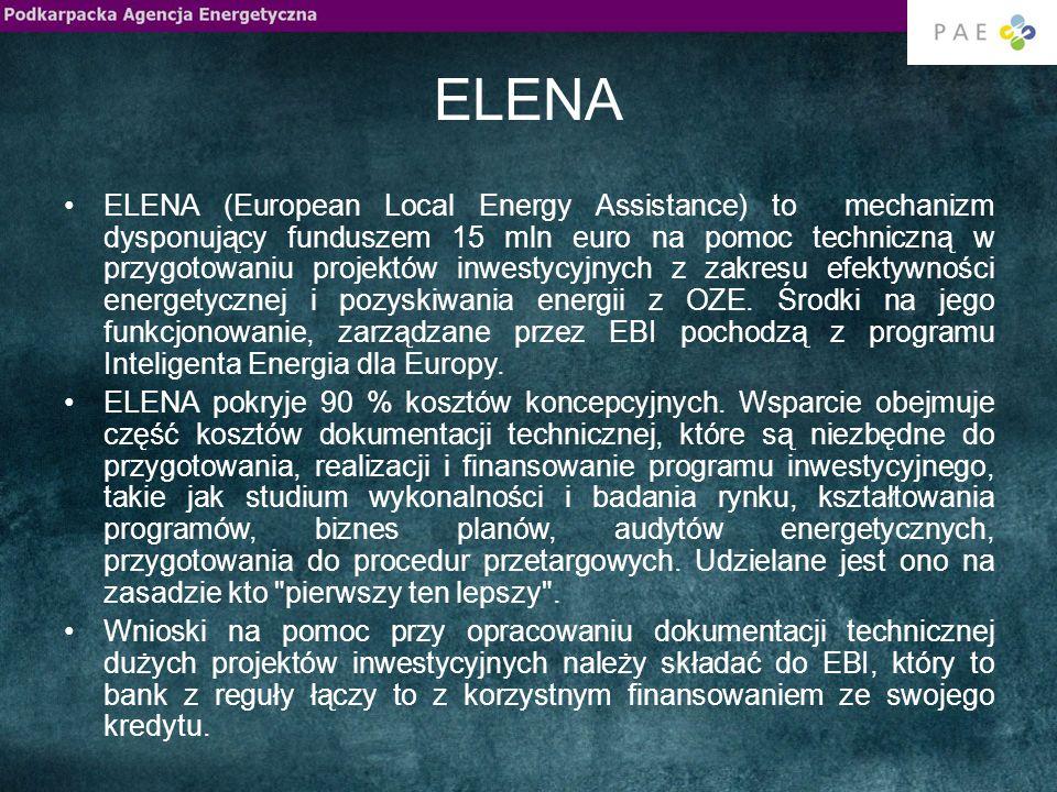 ELENA ELENA (European Local Energy Assistance) to mechanizm dysponujący funduszem 15 mln euro na pomoc techniczną w przygotowaniu projektów inwestycyjnych z zakresu efektywności energetycznej i pozyskiwania energii z OZE.