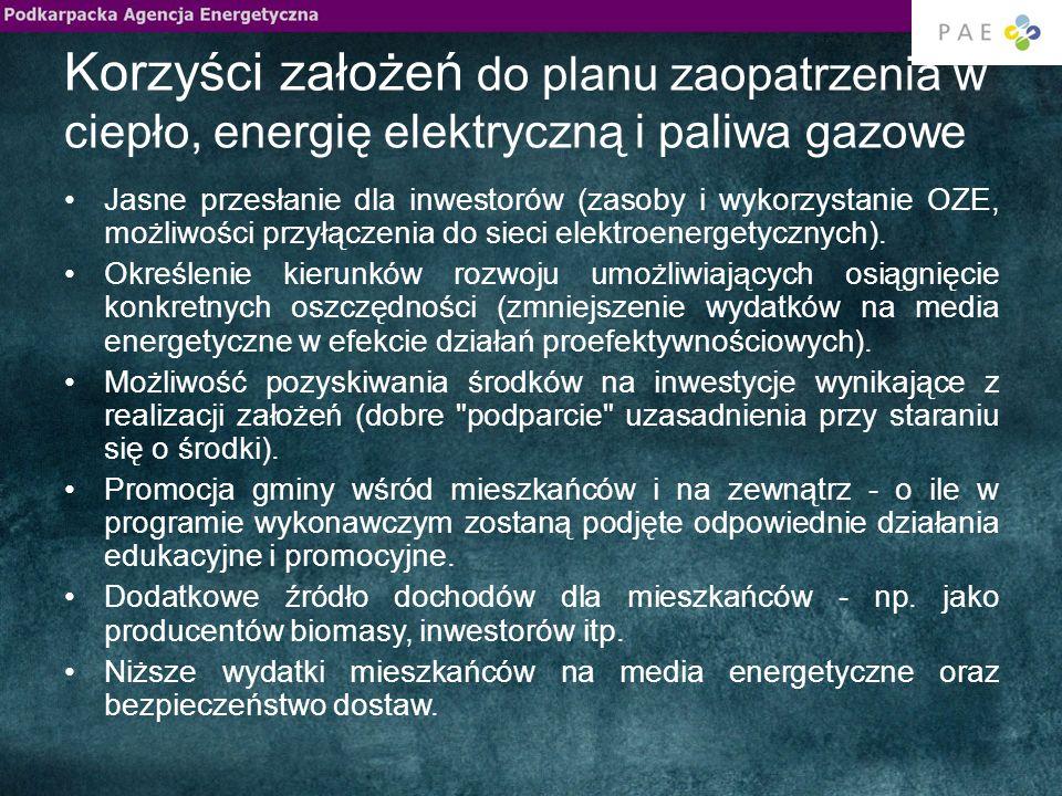 Korzyści założeń do planu zaopatrzenia w ciepło, energię elektryczną i paliwa gazowe Jasne przesłanie dla inwestorów (zasoby i wykorzystanie OZE, możliwości przyłączenia do sieci elektroenergetycznych).