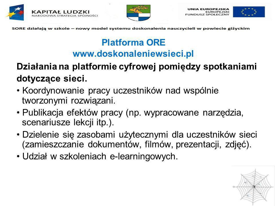 Platforma ORE www.doskonaleniewsieci.pl Działania na platformie cyfrowej pomiędzy spotkaniami dotyczące sieci.