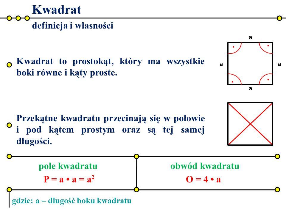 Kwadrat definicja i własności pole kwadratuobwód kwadratu.... a a a a Kwadrat to prostokąt, który ma wszystkie boki równe i kąty proste. Przekątne kwa