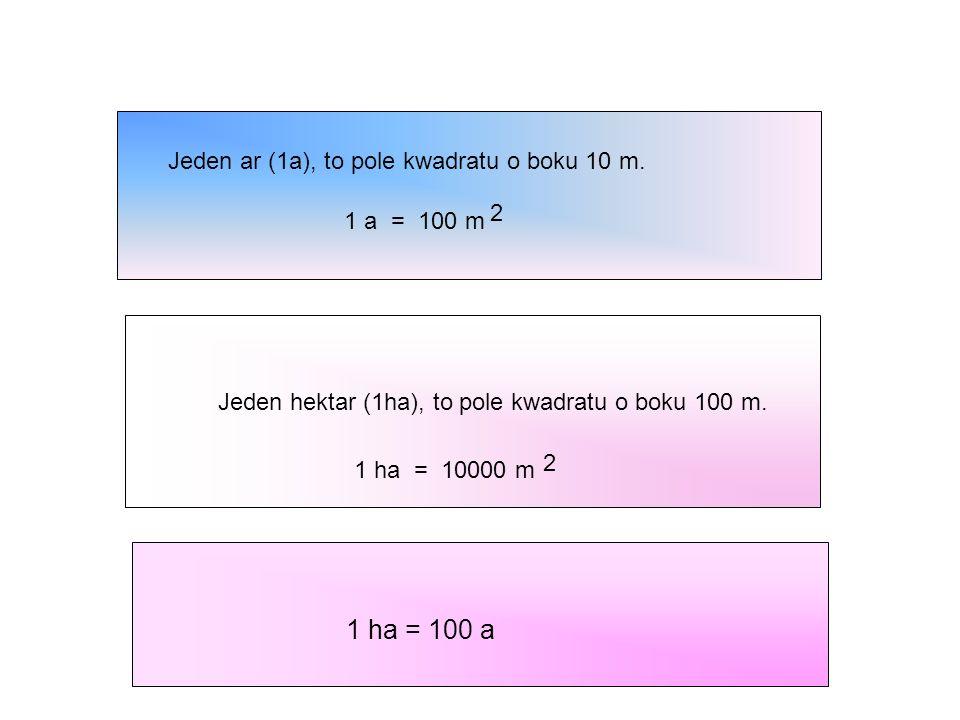Jeden ar (1a), to pole kwadratu o boku 10 m. 1 a = 100 m 2 Jeden hektar (1ha), to pole kwadratu o boku 100 m. 1 ha = 10000 m 2 1 ha = 100 a