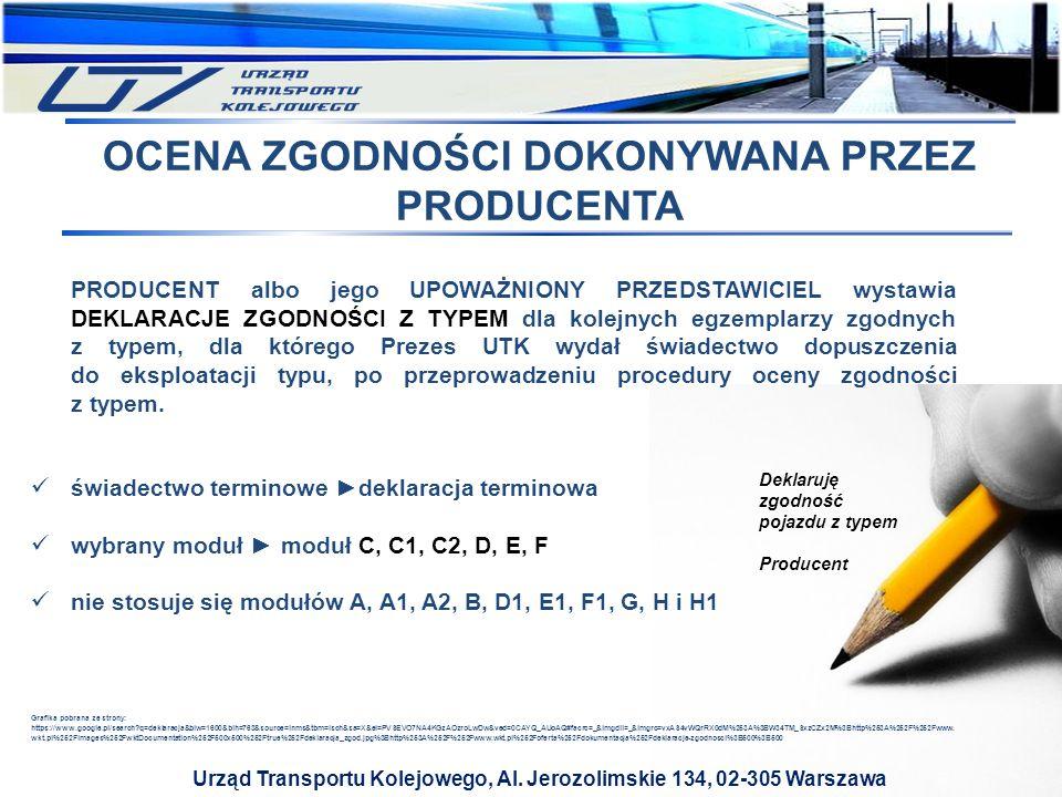 Urząd Transportu Kolejowego, Al. Jerozolimskie 134, 02-305 Warszawa PRODUCENT albo jego UPOWAŻNIONY PRZEDSTAWICIEL wystawia DEKLARACJE ZGODNOŚCI Z TYP