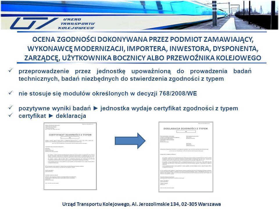 Urząd Transportu Kolejowego, Al. Jerozolimskie 134, 02-305 Warszawa przeprowadzenie przez jednostkę upoważnioną do prowadzenia badań technicznych, bad