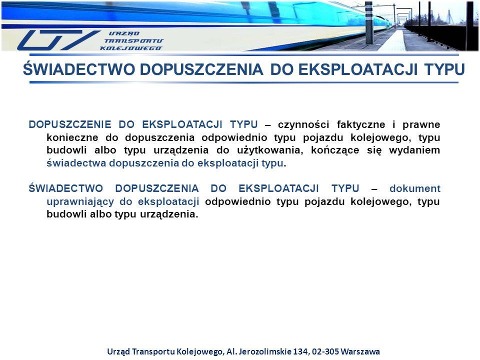 Urząd Transportu Kolejowego, Al. Jerozolimskie 134, 02-305 Warszawa DOPUSZCZENIE DO EKSPLOATACJI TYPU – czynności faktyczne i prawne konieczne do dopu