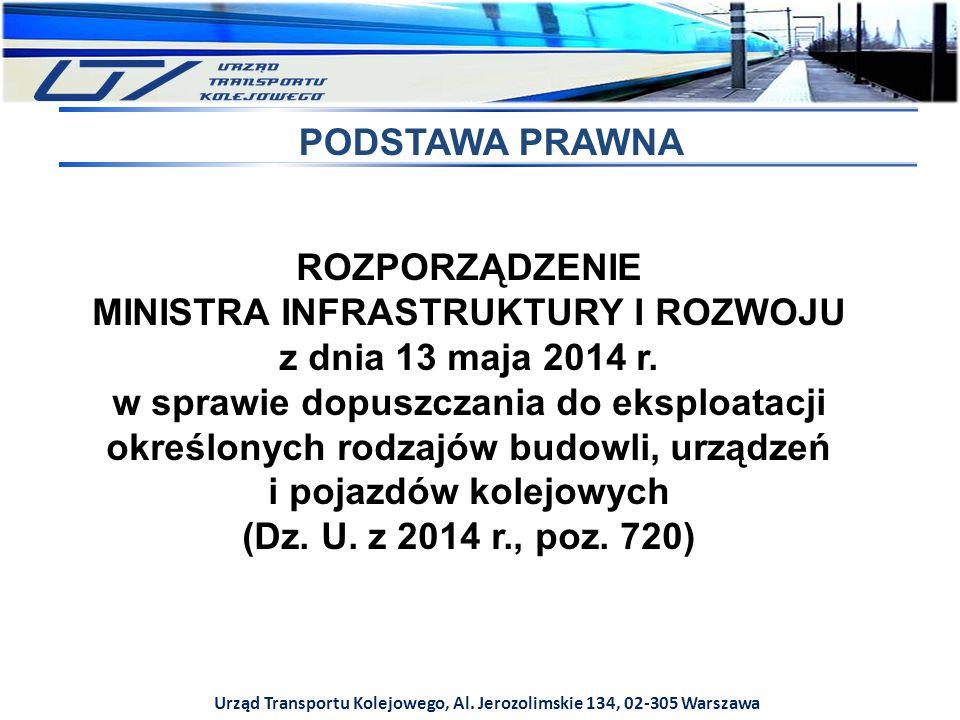 Urząd Transportu Kolejowego, Al. Jerozolimskie 134, 02-305 Warszawa ROZPORZĄDZENIE MINISTRA INFRASTRUKTURY I ROZWOJU z dnia 13 maja 2014 r. w sprawie