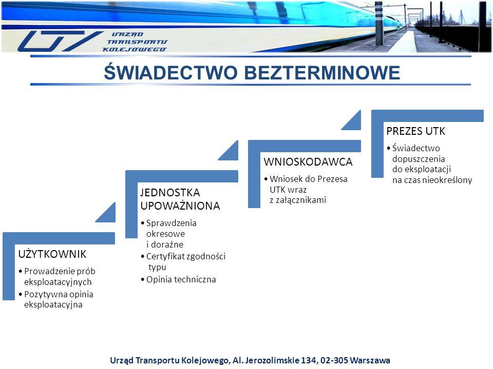 Urząd Transportu Kolejowego, Al. Jerozolimskie 134, 02-305 Warszawa ŚWIADECTWO BEZTERMINOWE UŻYTKOWNIK Prowadzenie prób eksploatacyjnych Pozytywna opi