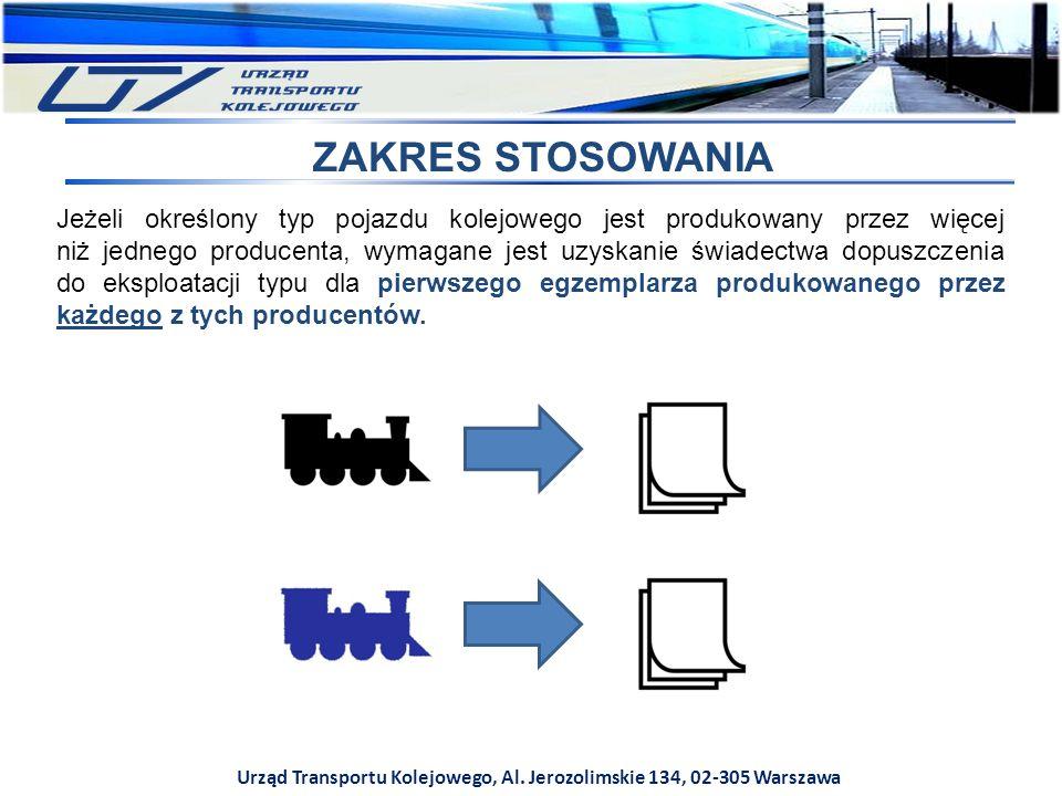 Urząd Transportu Kolejowego, Al. Jerozolimskie 134, 02-305 Warszawa ZAKRES STOSOWANIA Jeżeli określony typ pojazdu kolejowego jest produkowany przez w