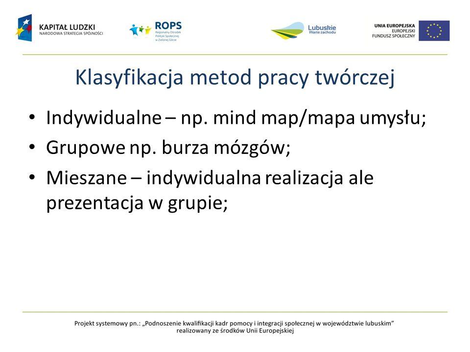 Klasyfikacja metod pracy twórczej Indywidualne – np. mind map/mapa umysłu; Grupowe np. burza mózgów; Mieszane – indywidualna realizacja ale prezentacj