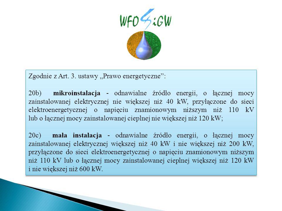 """Zgodnie z Art. 3. ustawy """"Prawo energetyczne"""": 20b) mikroinstalacja - odnawialne źródło energii, o łącznej mocy zainstalowanej elektrycznej nie większ"""
