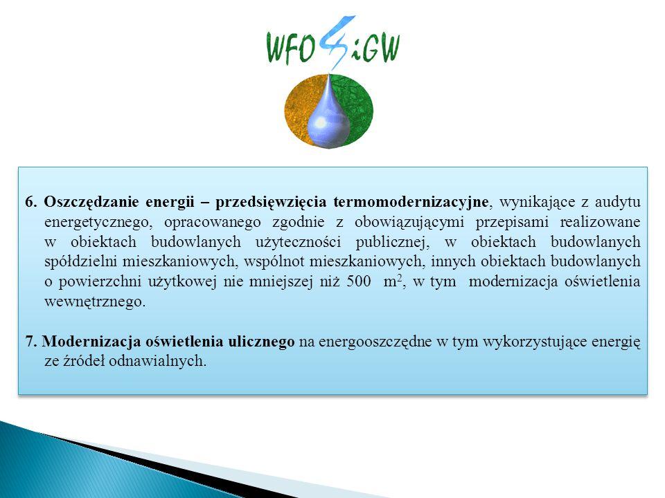 6. Oszczędzanie energii – przedsięwzięcia termomodernizacyjne, wynikające z audytu energetycznego, opracowanego zgodnie z obowiązującymi przepisami re