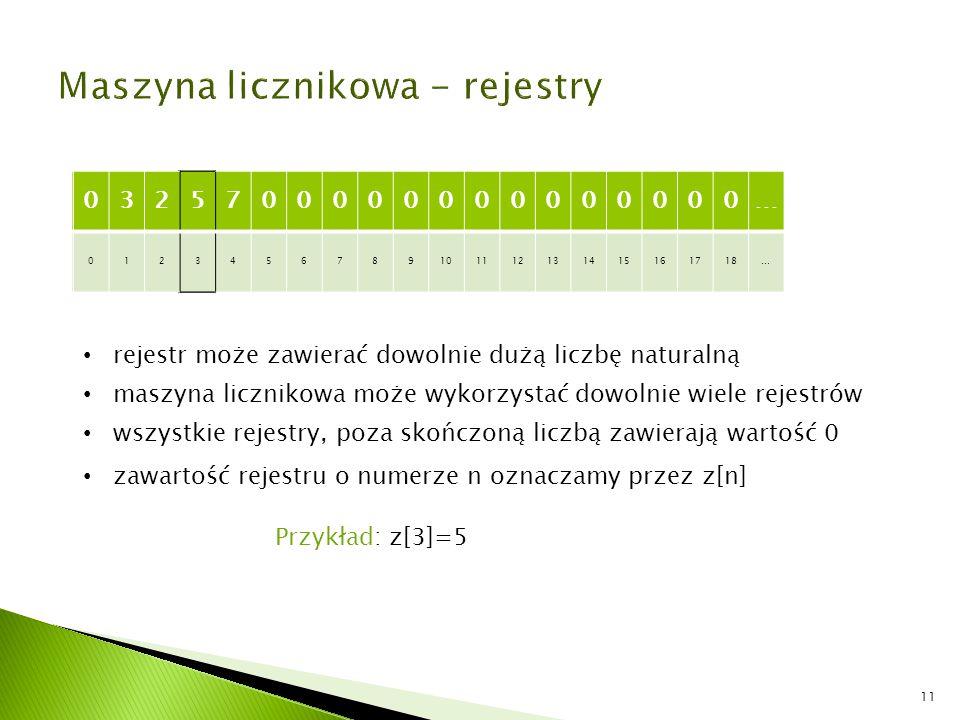 3257 0123456789 1112131415161718… rejestr może zawierać dowolnie dużą liczbę naturalną maszyna licznikowa może wykorzystać dowolnie wiele rejestrów ws