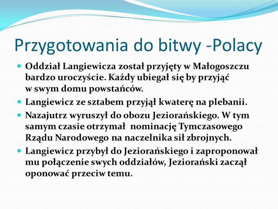 Przygotowania do bitwy -Polacy Oddział Langiewicza został przyjęty w Małogoszczu bardzo uroczyście. Każdy ubiegał się by przyjąć w swym domu powstańcó