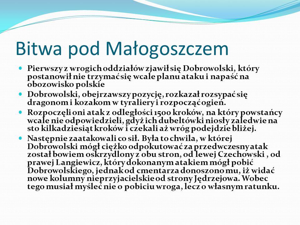 Bitwa pod Małogoszczem Pierwszy z wrogich oddziałów zjawił się Dobrowolski, który postanowił nie trzymać się wcale planu ataku i napaść na obozowisko