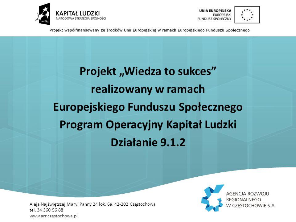 """Projekt """"Wiedza to sukces realizowany w ramach Europejskiego Funduszu Społecznego Program Operacyjny Kapitał Ludzki Działanie 9.1.2 Aleja Najświętszej Maryi Panny 24 lok."""