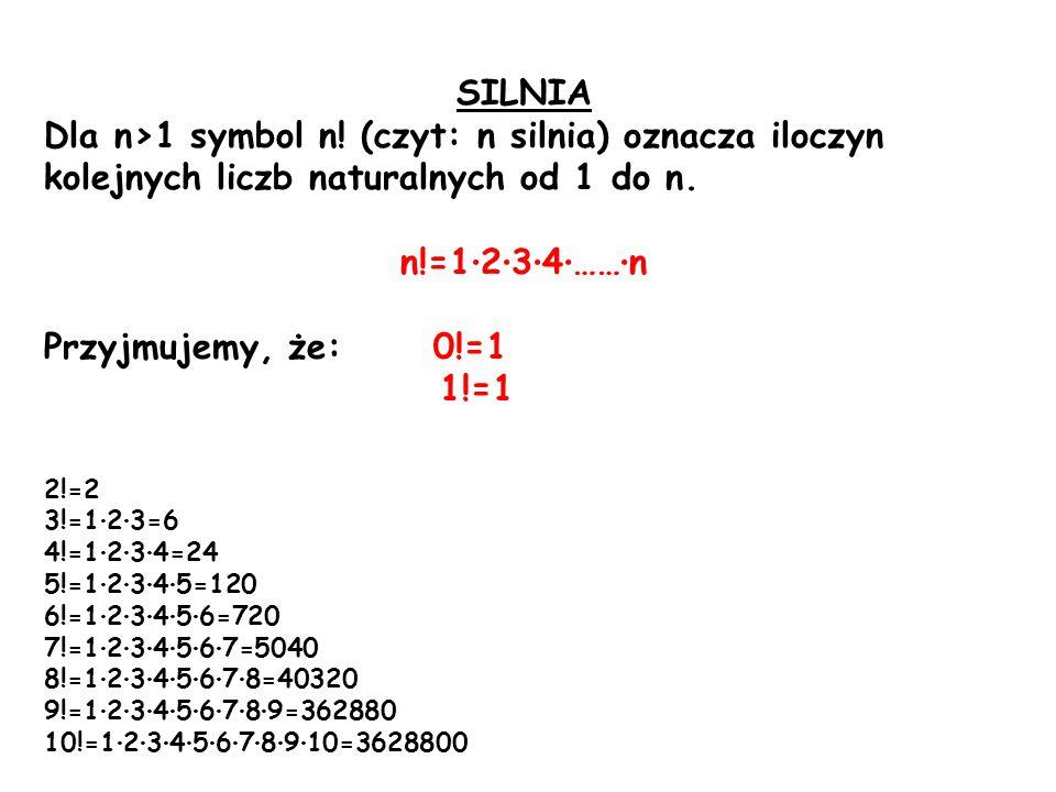 SILNIA Dla n>1 symbol n. (czyt: n silnia) oznacza iloczyn kolejnych liczb naturalnych od 1 do n.