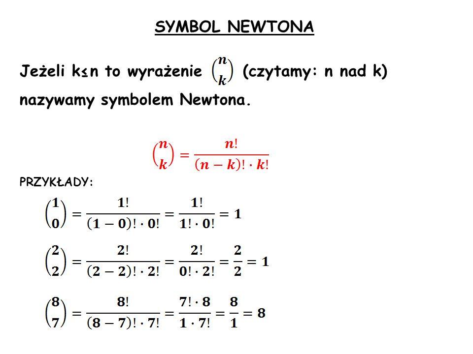 SYMBOL NEWTONA Jeżeli k≤n to wyrażenie (czytamy: n nad k) nazywamy symbolem Newtona. PRZYKŁADY: