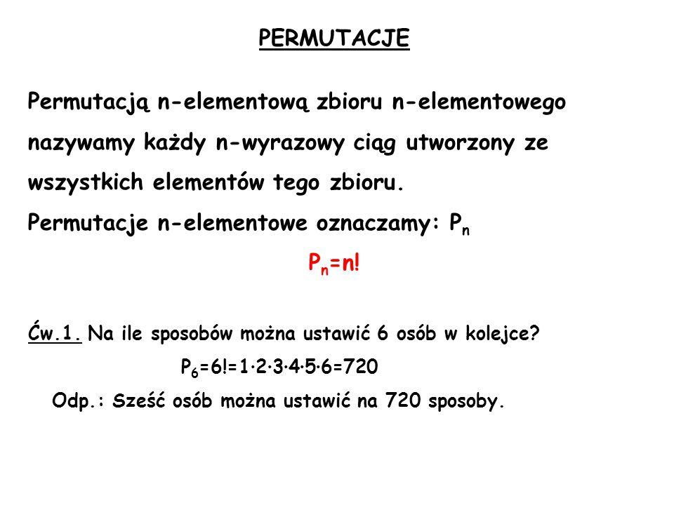 PERMUTACJE Permutacją n-elementową zbioru n-elementowego nazywamy każdy n-wyrazowy ciąg utworzony ze wszystkich elementów tego zbioru.